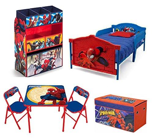 Marvel Spider Man Toddler Bedroom Bundle Set 3D Bed Toy Bin Organizer Activity Table Chairs Storage Trunk