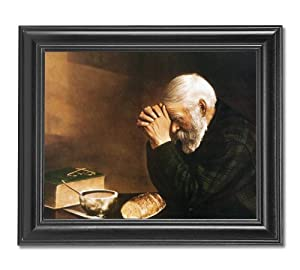 Daily Bread Man Praying At Dinner Table Grace Religious Wall Picture Framed Art Print