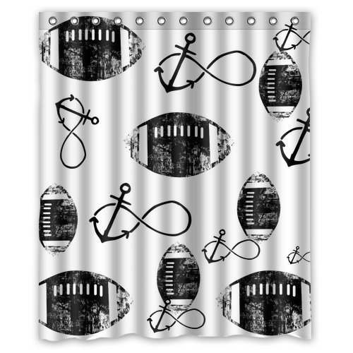 """American Football Fashion Funny Retro Vintage Nfl Shower Curtain 60"""" X 72"""" front-1072907"""