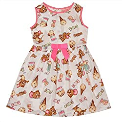 CrayonFlakes Kids Wear for Girls Cotton Sleeveless Frock Jerry Ice Cream Print Dress