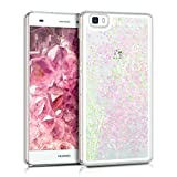 kwmobile hardcase cover for P8 Lite with liquid - hardcase backcover protective case water with Design glitter snow globe in light pink transparent