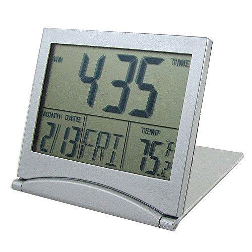 XREXS ® Mini Portable Large LCD Display Foldable Desktop Tabletop Calendar Temperature Digital Alarm Clock (silver)