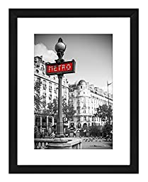 11x14 Black Picture Frame - Display Pictures 8x10 Inches with Mat or 11x14 Inches Without Mat - Wall Mounting Material Included