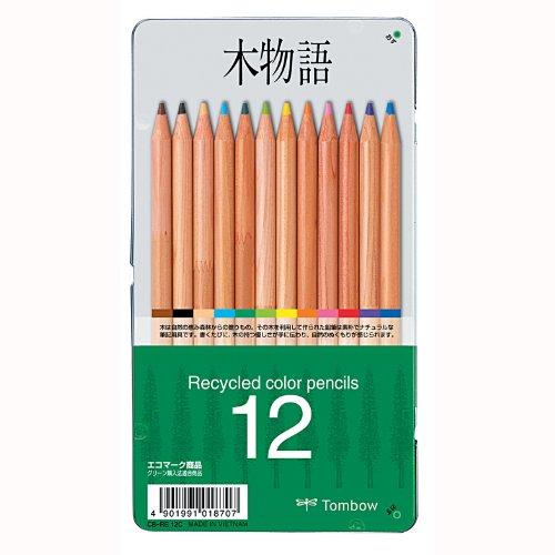 トンボ鉛筆 色鉛筆 木物語 12色 CB-RE12C