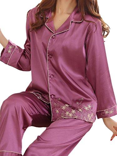 (ラテラテ)LATE LATE シルク パジャマ レディース 部屋着 リラックス ナイトウエア 刺繍 かわいい 心地いい 春秋 パープル 2XL