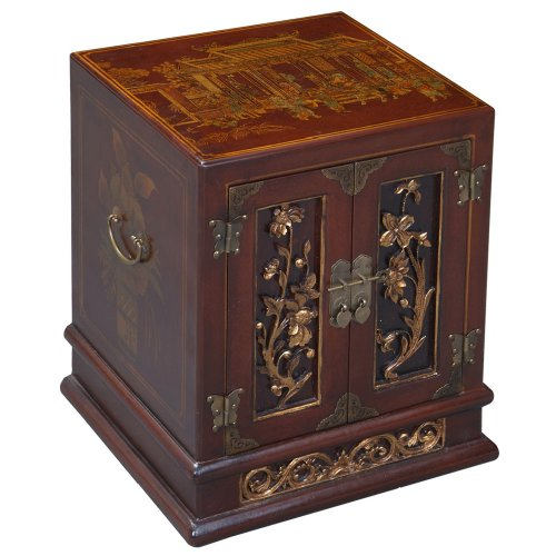 Cheap EXP Handmade Furniture – 23″ Antique Style Red Leather End Table With Bas-Relief Floral Design (B0027WCNBI)