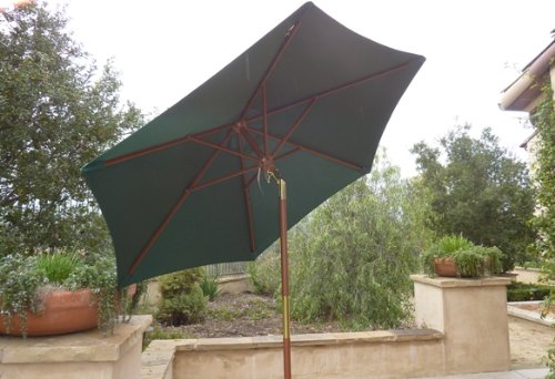 7ft wooden market umbrella with tilt mechanism - Hunter Green7ft wooden market umbrella with tilt mechanism - Hunter Green