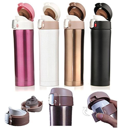 CAMTOA Double Thermos Cup Mug Insulation Vacuum Stainless Steel Bottle Portable Cup Drink Hot or Cold Water Bottle for Travelling Mug Fishing Car Driving 350ML White