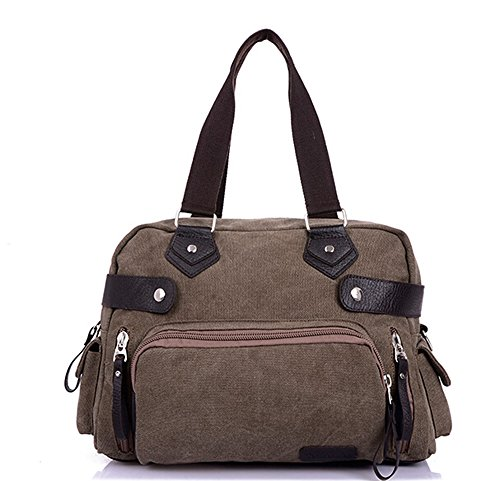 Bronze Times discount duty free Bronze Times (TM) Simple Canvas Crossbody Bag Tote Bag for Travel and Sport (Deep Grey)