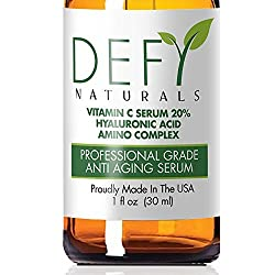 Vitamin C Serum by Defy Naturals - 20% Clinical Strength Potency - Organic Vitamin C / Hyaluronic Acid / Amino Complex - ANTI AGING Formula Lets You Defy Your Age Everyday Eliminate Lines, Wrinkles, Aging Skin and Crows Feet. No Fillers or Additives. 100% Satisfaction Guarantee (Original Organic, 1 Oz)