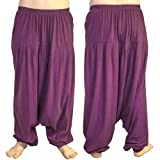 COTTON HIPPY BOHO HAREM ALADIN ALIBABA YOGA BELLY DANCING TROUSERS PURPLE - ONE SIZE 8 to 24 - 40-41