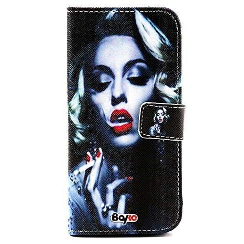 Bayke Brand / Iphone 6 Plus Case 5.5 Inch Beautiful Pu Leather Wallet Type Flip Case Cover With Credit Card Holder Slots For Apple Iphone 6 Pro 5.5 Inch Release On 2014 Case (Smoking Sexy Lady Marilyn Monroe Pattern)