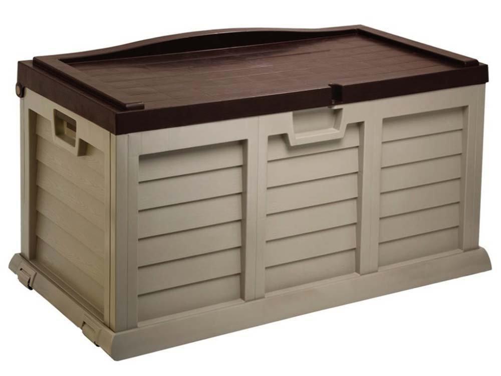 Auflagenbox /Gartenbox/Kissenbox LARGE MIT SITZFLÄCHE ca. 119 x 62 x 63.5 cm/ Farbe: mocca-braun