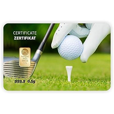 Goldbarren Geschenkkarte 0,5 g 0,5g Gramm Feingold 999.9 Nadir Gold Sport Golf