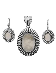 Exotic India Shell (Mother Of Pearl) Pendant With Matching Earrings Set - Sterling Silver