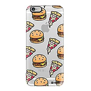 Hamee Original Designer Cover Thin Fit Crystal Clear Plastic Hard Back Case for iPhone 6 Plus / 6s Plus (Burger and Pizza)