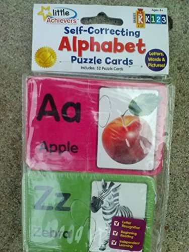 Little Achievers Self-Correcting Alphabet Puzzle Cards with Letters, Words & Pictures (Grades preK & Up)