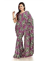 Designersareez Women Khadi Silk Printed Multicolor Saree With Unstitched Blouse(1090)
