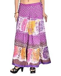 Aura Life Style Women's Cotton Bandhej Skirt (ALSK3011B, Multi , Free Size)
