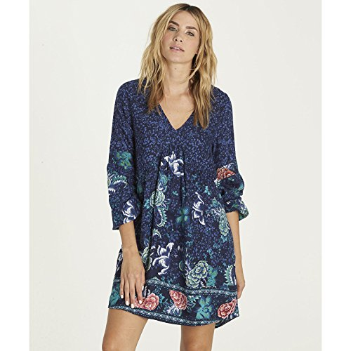 Billabong Women's Clearest Melody Long Sleeve Printed Dress, Peacoat, M