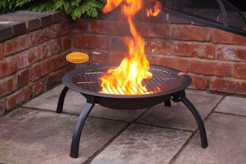 Stahl Tragbare Feuerschale BBQ Feuerstelle Mit Folding Beine 56cm W x 39cm H günstig
