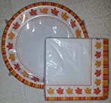 Harvest Leaves Pattern of 24 Disposable 10 Inch Plates and 48 2 Ply Napkins