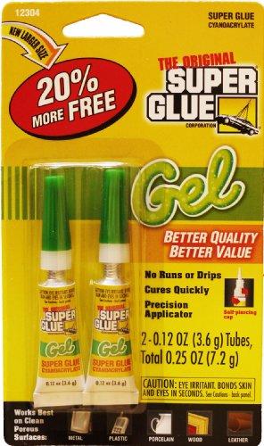 The Original Super Glue Cyanoacrylate Gel, 0.12 Oz each, 2 tubes