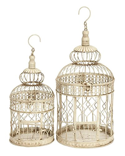 Deco 79 Metal Wall Hanging Bird Cage, 22-Inch and 18-Inch, Set of 2 0