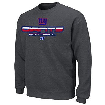 NFL New York Giants 1st and Goal V Crew Sweatshirt - Charcoal (Small)
