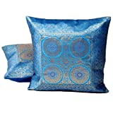 Little India Hand Embroidery Brocade Work Silk 2 Piece Cushion Cover Set - Blue (DLI3CUS808)