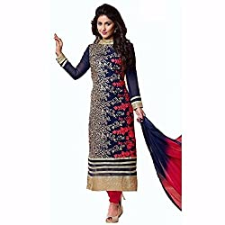 Manav Fashion Women's Raw Silk Unstitched Dress Material (heena khan_Navy Blue_Free Size)