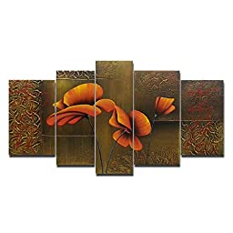 Wieco Art - Composition of Three Poppies Large Modern 5 Panels 100% Hand Painted Gallery Wrapped Contemporary Floral Oil Paintings on Canvas Wall Art Ready to Hang for Living Room Office Decor L