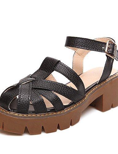 zapatos-de-mujer-tacon-bajo-punta-redonda-sandalias-casual-semicuero-negro-blanco-plata-black-us65-7