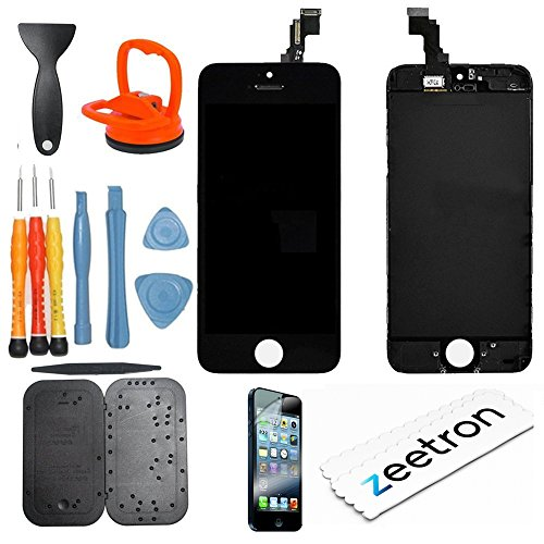 Zeetron Iphone 5C Premium Glass Screen Lcd Repair & Replacement Do It Yourself Kit Black (For Models: A1532 A1507 A1532 A1456 A1529 A1526)