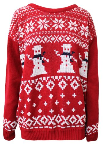 AXTokyo Mens Dancing Snowman Christmas Jumper (XXL, Red)