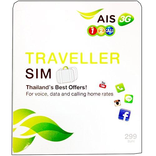 AIS タイ プリペイド SIM カード AIS 1-2 Call TRAVELLER 7日間 3Gデータ 通信 定額 100B (約150分)国内分の 通話 付き! JAPAEMO製 マイクロ SIMアダプタ 付!  AIS001