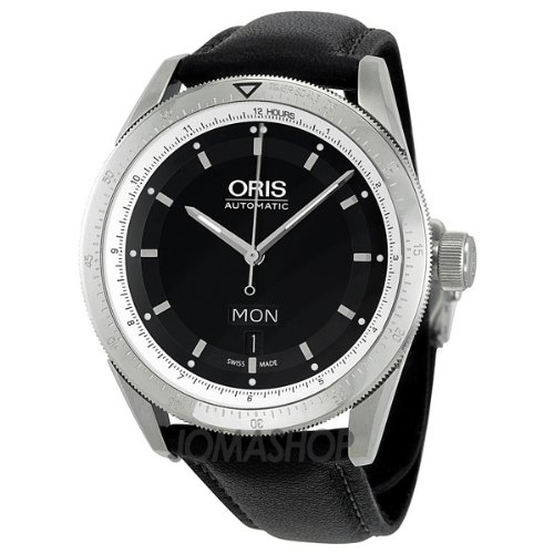 Oris Artix GT Day Date Black Dial Leather Strap Automatic Mens Watch 735-7662-4174LS