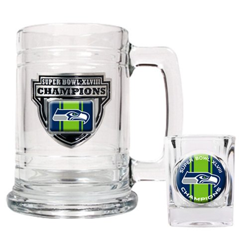 NFL Seattle Seahawks Super Bowl Champ Tankard and Shot Glass Set (2-Piece) at Amazon.com