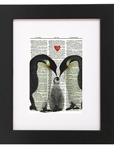 Dictionary Art Print Baby Penguin And Family Printed