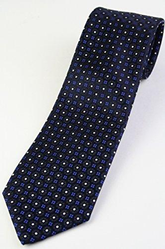 (フェアファクス) FAIRFAX サテンの小紋柄ネクタイ ネイビー系 シルク100% ジャカードタイ jg16556