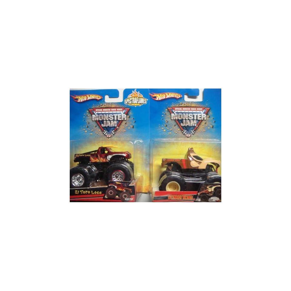Hot Wheels Monster Jam 2 Popular Trucks El Toro & Donkey Kong Scale 1/64
