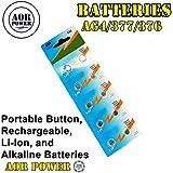 AOR Flashlights 1.5 Volt Alkaline AG4-377/376 Button Battery, 10 Pack