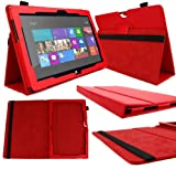 DURAGADGET Executive Red Faux Leather Folio Case With Built In Stand Custom Designed For The Microsoft Surface RT 10.6 Inch Tablet Hybrid PC (32GB, 64GB)