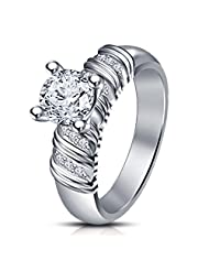 14k White Gold Plated 925 Sterling Sliver Round Cut Solitaire With Accents Ring White CZ Form Vorra Fashion