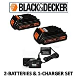 Black & Decker LBXR20 20-Volt Lithium-Ion Battery Pack & Black & Decker 16v-20v Lithium-ion Charger # 90590282 (2 BATTERIES & 1 CHARGER SET (BLACK) (Color: ORANGE & BLACK, Tamaño: 2 BATTERIES & 1 CHARGER SET (BLACK)))