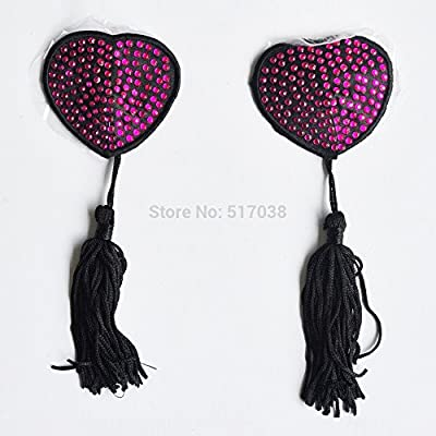 AbleGrow(TM)cheap purple sexy women's Heart rhinestones pasties breast bra adhesive nipple cover with tassel sex toy for costume lingerie