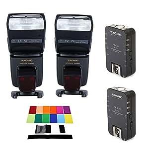 Yongnuo Set per Canon 2* YONGNUO YN568EX II Master TTL Flash Speedlite + Yongnuo YN-622C Wireless TTL Flash Trigger Transeiver 2.4GHz 1 / 8000s+12 * colori Speedlite Quadrato Kit Filtro