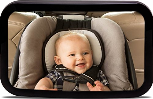 Backseat Baby Car Mirror | View Your Back Seat Rear-facing Infant | Shatterproof, Crash Tested & Parent Approved | Large, Adjustable & Stable | Satisfaction Guaranteed