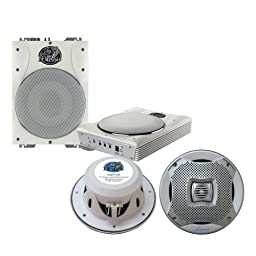 Lanzar Marine Amp Woofer and Speaker Package - AQTB8 8\'\' 1000 Watts Low-Profile Super Slim Active Amplified Marine/Waterproof Subwoofer System - AQ7CXS 500 Watts 7.7\'\' 2-Way Marine Speakers (Silver Color)