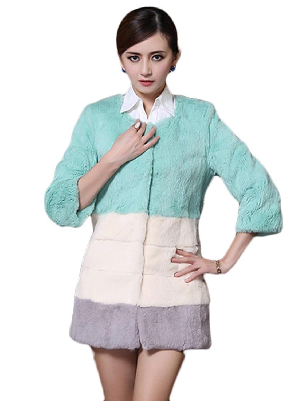 queenshiny Damen 100% Echte Kaninchen Pelz Lange Mantel Jacken Mehrfarbig Winter Mode online bestellen